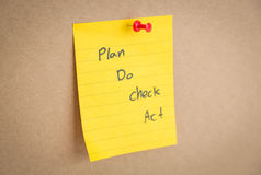 Sticky note on board. Sticky note with   Plan Do Chek Act  on board Stock Photography