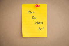 Sticky note on board. Sticky note with   Plan Do Chek Act  on board Stock Photos