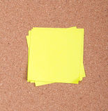 Sticky note on a bulletin board Stock Photo