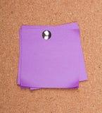 Sticky note on a bulletin board Royalty Free Stock Photo