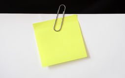 Sticky note and clip Stock Images