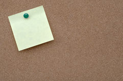 Sticky note on cork board Stock Photo
