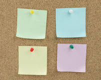 Sticky note. On cork board background royalty free stock images