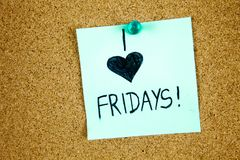Sticky Note On Cork Board Background I love Friday Concept Stock Images