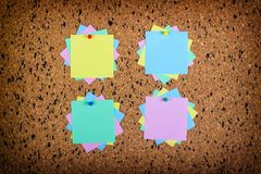 Sticky note on cork board, empty space for text Royalty Free Stock Photography