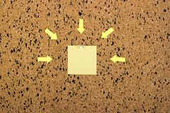 Sticky note on cork board, empty space for text Royalty Free Stock Images