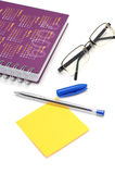 Sticky note and diary Stock Photography