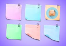 Sticky Note with Email mail icon against neutral background Royalty Free Stock Photos