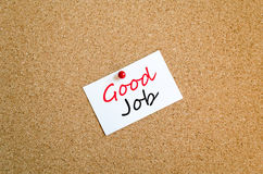 Sticky Note Good Job Concept. Sticky Note On Cork Board Background Good Job Concept stock photo
