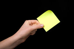 Sticky Note in Hand Royalty Free Stock Photography
