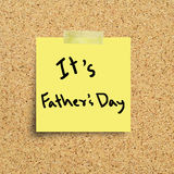 Sticky note with Happy Fathers Day Stock Image