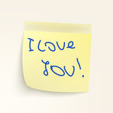 Sticky-note: I Lovw You! EPS 8 Stock Photos