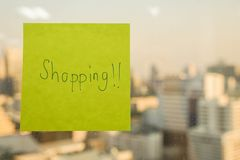 Sticky note icon of time to go shopping stock images