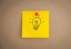 Sticky note with idae bulb. On board Stock Images