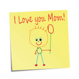 Sticky note with kids' drawing Stock Photography
