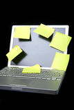 Sticky Note on Laptop Royalty Free Stock Photos