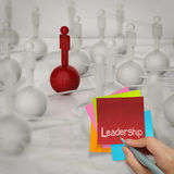 Sticky note and leadership 3d human social network Royalty Free Stock Photos