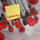 Sticky note with leadership word on crumpled paper Royalty Free Stock Image