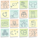 Sticky note with love pictures. The sticky note with love pictures Royalty Free Stock Photo