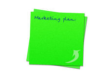 Sticky note marketing plan Royalty Free Stock Image
