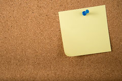 Sticky note memo on board. Template of sticky memo note cards on board in background Stock Photo