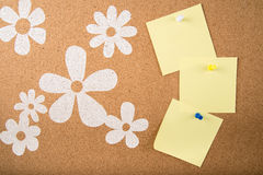 Sticky note memo on board. Template of sticky memo note cards on board in background Stock Photos