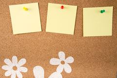 Sticky note memo on board. Template of sticky memo note cards on board in background vector illustration