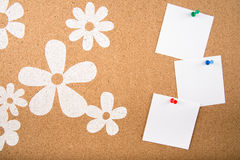 Sticky note memo on board. Template of sticky memo note cards on board in background Royalty Free Stock Photos
