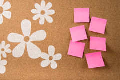 Sticky note memo on board. Template of sticky memo note cards on board in background Royalty Free Stock Photo