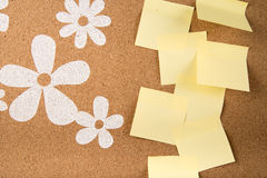 Sticky note memo on board. Template of sticky memo note cards on board in background Stock Image