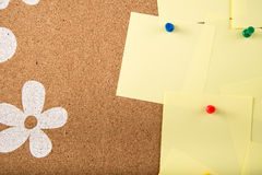 Sticky note memo card on board. Template of sticky memo note cards on board in background Royalty Free Stock Image