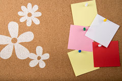 Sticky note memo card on board. Template of sticky memo note cards on board in background Royalty Free Stock Photography