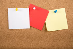 Sticky note memo card on board. Template of sticky memo note cards on board in background stock illustration
