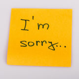 Sticky Note Message isolated on white - I am sorry Stock Images