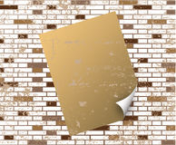 Sticky Note On T Dirty Brick Wall Royalty Free Stock Photography