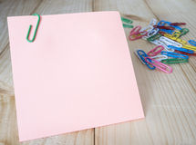 Sticky note and paper clip 12 Stock Photo
