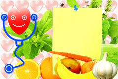 Sticky note paper for health and heart related note Stock Images