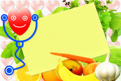 Sticky note paper for health and heart related note Stock Photos