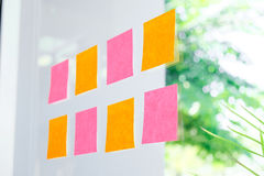 Sticky note paper reminder schedule board. Business people meeti. Ng and use post it Royalty Free Stock Photo