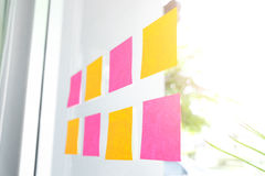 Sticky note paper reminder schedule board. Business people meeti. Ng and use post it Stock Photos