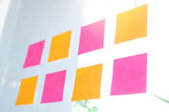 Sticky note paper reminder schedule board. Business people meeti. Ng and use post it Stock Images