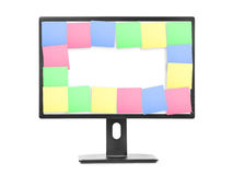 Sticky Note Papers on computer screen Stock Photos