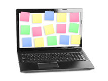 Sticky Note Papers on Notebook computer Screen Stock Photo