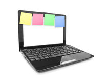 Sticky Note Papers on Notebook computer Screen Royalty Free Stock Photos