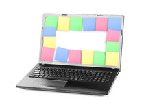 Sticky Note Papers on Notebook computer Screen Royalty Free Stock Image