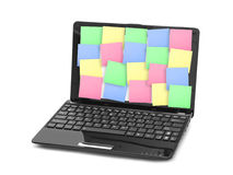 Sticky Note Papers on Notebook computer Screen Royalty Free Stock Photography