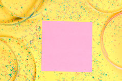 Sticky note with party background Stock Image