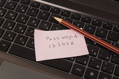Sticky note with password and pencil. On black laptop Royalty Free Stock Image