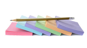 Sticky note and pencil Stock Image