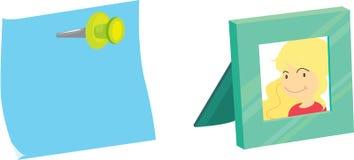 Sticky note and photoframe Stock Photography